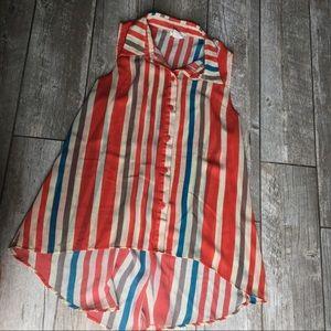 Sans Souci - Sleeveless Striped Blouse Size M
